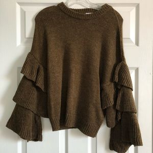 Sweaters - Brown bell sleeve sweater